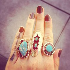 silver turquoise boho rings