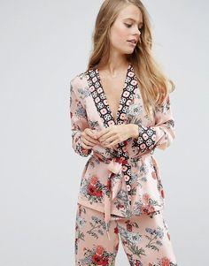 ASOS | ASOS PREMIUM Mixed Floral & Tile Print Satin Kimono Pyjama Top