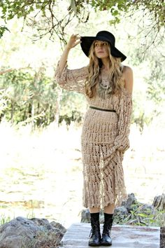Cute bohemian crochet maxi paired with edgy biker boots and a floppy wide brim. Love the Indian inspired coin necklace too. Amy Soderlind.