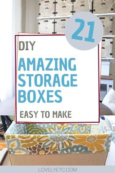 I've gathered a collection of amazing DIY storage box ideas that you can easily make for you own home. There are wood, cardboard, and fabric boxes in all shapes and sizes so hopefully, you will find the perfect inspiration for your next organizing project! Lego Storage Boxes, Pretty Storage Boxes, Fabric Storage Boxes, Storage Buckets, Decorative Storage Boxes, Fabric Boxes, Cardboard Box Diy, Cardboard Storage, Diy Wood Box