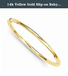 14k Yellow Gold Slip-on Baby Polished Bangle 5.5in. This beautifully crafted baby bangle is sure to be the perfect gift for a new addition to a family. This piece comes with Allure Jewelers 5 Star Satisfaction Guarantee. Allure Jewelers has an extensive assortment of jewelry, please feel free to browse through our other collections.Please note that there is no gram weight listed for this product. This item is sold complete from the manufacture and the exact gram weight of the gold content…
