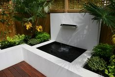 Square Raised Backyard Pond Ideas Mixed With Enchanting Waterfall Also Wooden Laminate Floor And Elba Fence Style. Furniture, Stunning Backyard Pond Ideas To Beautify The House Exterior