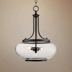 "Largo 14 1/4""W Oil-Rubbed Bronze 3-Light Pendant Light"