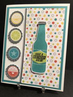 Stampin up Bubble Over set & Bottles & Bubbles Frameltis Dies Bundle~Cooler Beer Homemade Birthday Cards, Birthday Cards For Men, Homemade Cards, Card Birthday, Sister Birthday, Diy Birthday, Masculine Birthday Cards, Masculine Cards, Bubble Birthday