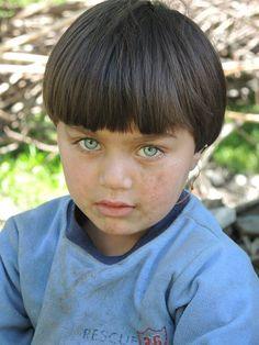Kalash girl with shining eyes, Pakistan