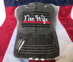 Thin red line Fire Wife American flag, Fire Wife distressed trucker hat, fire cap, Firefighter's wife embroidered red line distressed hat Firefighter Wife Quotes, Firefighter Family, Firefighter Pictures, Firefighter Decor, Firefighter Shirts, Firefighters Wife, Employee Appreciation, Fundraising Ideas, Fundraising Events