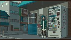 The Chill and Retro Pixel Art of Motocross Saito. Pixel artist, designer, DJ and track maker Motocross Saito creates memorable GIF animations in a retro style, channeling and culture and music, with a focus on hip hop. Motocross, Vaporwave, Gif Pictures, Cool Pictures, Beautiful Pictures, Gifs, Pixel Art Gif, Arte 8 Bits, Pixel Life