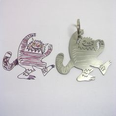 jewellery and key chains made from your kid's drawings