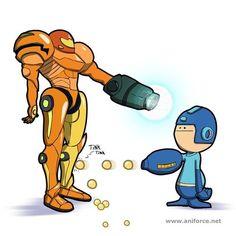 Mega Man versus Samus