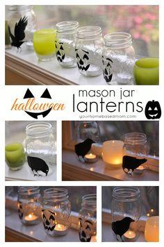 Halloween Mason Jar Lanterns | Super fun & cute decor for the Halloween season!