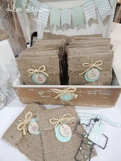 Rustic First Communion Party Ideas First Communion Party, First Holy Communion, Baby Baptism, Christening, Burlap Crafts, Diy And Crafts, Baptism Favors, Craft Party, Gift Wrapping