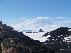 Mount Erebus, an active volcano near McMurdo Station in Antarctica