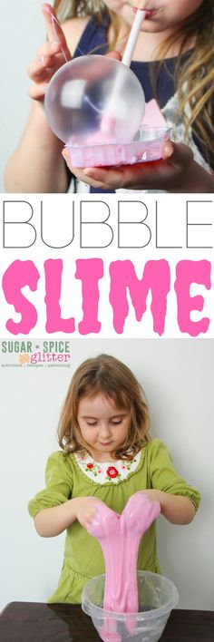 This amazing slime makes AMAZING bubbles and keeps in a container for weeks. Stretchy, slimey sensory play that does double duty