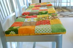 no ties w/slipper grip: The Brown Needle: non-slip patchwork seat cushions- a tutorial