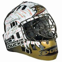 NHL Anaheim Ducks SX Comp GFM 100 Goalie Face Mask by Franklin. $54.99. Show your team spirit with the Franklin Anaheim Ducks NHL Team Goalie Mask Emblazoned with officially licensed team logos and colors and featuring High impact ABS Plastic with antimicrobial technology. Anatomically designed for safety and comfort with adjustable quick-snap straps to ensure proper fit. Sized for kids ages 5-9 and only for street hockey use. Not intended for ice hockey or any type ...