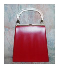 Vintage 50s Bright Red Leather Frame Purse