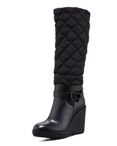 9237ce8ca602 Cernobbio Quilted Dolmias Boot, Black by Moncler at Neiman Marcus. Red  Sole, Wedge