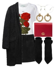 Untitled #6435 by laurenmboot on Polyvore featuring polyvore, fashion, style, Off-White, Isabel Marant, Monki, Yves Saint Laurent, Gucci, Chanel, Linda Farrow and clothing