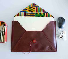 "13"" leather envelope laptop sleeve"