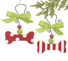 """Hand-painted wooden dog bone ornament assortment with tin hanger accented with red and green beads and green with white polka dotted bow.  1 3/4"""" H x 4"""" W. 5 3/4"""" H total with wire.  4 assortments of 2 for a set of 8."""