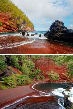 Kaihalulu Red Sand Beach – Hana, Hawaii:  Hawaii features some exquisitely beautiful red sand beaches.  The contrast of verdant green plants, cool blue water, and brilliant red sand creates a vibrant color pallet that is hard to find in nature.  Kaihalulu Beach in Hana Hawaii is one place where you can observe this phenomenon, but be prepared for a decent hike to uncover this gem.