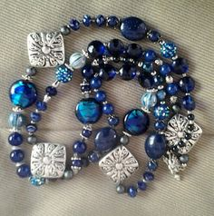 Blue, Extra Long Sixties, Chunky, Boho, Hippie Statement Necklace Set..Shades of Blue and Silver..with Matching Bracelet and Earrings...N125 by NinsWildCreations on Etsy