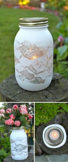 Put lace around the outside of a jar as sort of a stencil, then spray paint it, and use as a vase, or a candle holder, or just as a pretty jar!