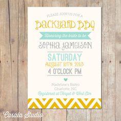 Backyard BBQ Bridal Shower Party Invitation Baby Shower Mustard & Mint