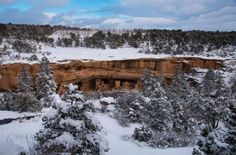 """Mesa Verde means """"green table,"""" but winter snows have turned most of Mesa Verde National Park white. Over archaeological sites in the park help tell the story of the Pueblo people, who lived. Brown Palace Hotel, Colorado Snow, Aspen Snowmass, Winter Festival, Green Table, Winter Camping, Rocky Mountain National Park, Native American History, Archaeological Site"""