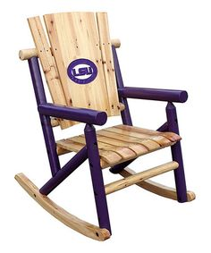 Take a look at this LSU Wood Rocker by Leigh Country on #zulily today!