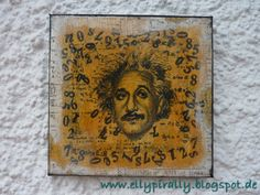 Mixed Media and more: Canvas - Einstein - Image Transfer with DecoArt Media Matte Medium - Tutorial #decoartprojects #mixedmedia #decoartmedia