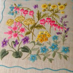 Embroidered Pillow with Blue Pink Purple and by EncoreVintageDecor