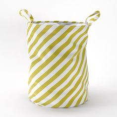 Panier � linge en coton rayures jaune moutarde 40€ Roomblush