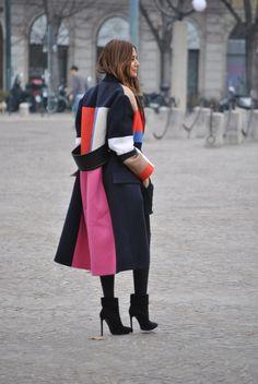 la modella mafia Christine Centenera fashion editor 2013 street style - Celine coat and top, Balenciaga skirt, Wolford tights, Saint Laurent ankle boots