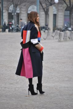 la modella mafia Christine Centenera fashion editor 2013 street style - Celine coat and top, Balenciaga skirt, Wolford tights, Saint Laurent ankle boots