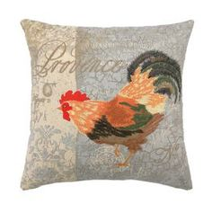 "Down-filled linen pillow with an embroidered rooster.   Product: PillowConstruction Material: 100% Linen cover and feather down fillColor: Gray, red and greenFeatures:  Insert includedEmbroidered Dimensions: 18"" x 18""Cleaning and Care: Spot clean"