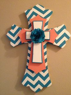 Wooden cross Blue and coral 2ft cross by SouthernFaithCrosses, $85.00