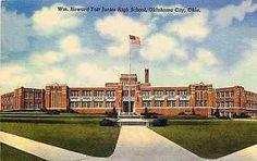 Oklahoma City Oklahoma~William Howard Taft Junior High School~American in United States > Oklahoma > Other School Days, High School, William Howard Taft, Oklahoma Usa, Vintage Postcards, American Flag, United States, Learning, Travel
