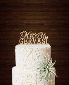 Mr and Mrs Cake Topper,Wedding Cake Topper,Unique Mr Mrs Last Name Cake Topper,Personalized Wedding Cake Topper,Rustic Cake Topper Music