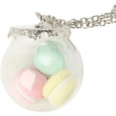 LOVEsick Macaroon Jar Long Necklace | Hot Topic ($17) ❤ liked on Polyvore featuring jewelry, necklaces, long pendant necklace, chain necklace, chain jewelry, long jewelry and pendant jewelry