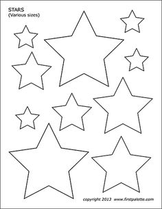Free printable stars of various sizes to color and use for crafts and other learning activities. Free printable stars of various sizes to color and use for crafts and other learning activities. Star Template Printable, Printable Shapes, Printable Crafts, Free Printables, Ramadan Crafts, Ramadan Decorations, Tattoo Knee, Fourth Of July Crafts For Kids, Star Coloring Pages