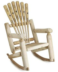 baseball bat furniture, stuff, basebal chair, basebal bat, rocking chairs