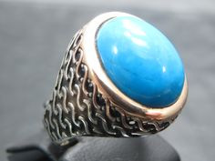 Turkish Handmade Ottoman Style 925 Sterling Silver Turqouise Men's Ring by TolsanJewelry on Etsy