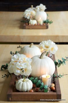 Love this idea for a fall wedding centerpiece that doesn't break the bank and also features softer colors while still being traditional fall wedding decor. So beautiful! wedding centerpieces Contemporary Fall Centerpiece Idea with White Pumpkins Fall Wedding Centerpieces, Diy Wedding Decorations, Flower Centerpieces, Wedding Ideas, White Pumpkin Centerpieces, White Pumpkin Decor, Trendy Wedding, Wedding Planning, Fall Centerpiece Ideas