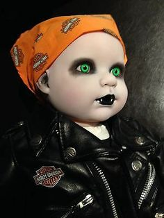 "OOAK Goth Reborn Hand Painted Harley Davidson Doll Horror Crimson Moon Demon 20"" | eBay"
