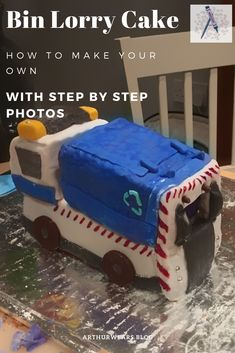 Step by Step photos of how to make a bin lorry garbage truck cake Truck Birthday Cakes, Truck Cakes, 4th Birthday, Make Your Own, Make It Yourself, How To Make, Garbage Truck, Little Man, Craft Tutorials