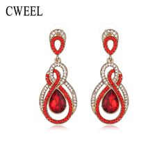 CWEEL New Gold Plated Imitated Crystal Jewelry Long Dangle Earrings For Women Earring Wedding Party Dress Bridal Accessories