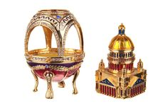 Russian Decorative Faberge Egg Saint Isaac's Cathedral Saint-Petersburg 10.5 cm