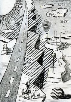 Fröhler-Wolke über Vermilion Sands (Fröhler-Cloud over Vermilion Sands), ca.1995 - Illustration for the Vermilion Sands Stories of J.G.Ballard