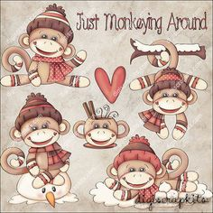 Monkeying Around Clip Art Instant Digital Download от EarlyThymes
